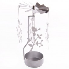 Bird and Tree Design Metal Tealight Spinner