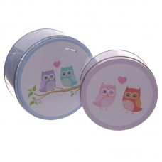 Set of 2 Circular Tins - Cute Love Owls Design