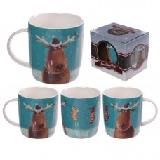Christmas New Bone China Mug - Jan Pashley Reindeers Design