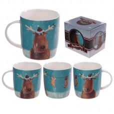 Christmas New Bone China Mug - Jan Pashley Reindeers Design
