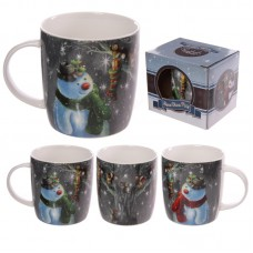 Christmas New Bone China Mug - Jan Pashley Snowman Design