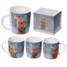 New Bone China Mug - Cute Reindeer Stockings Design