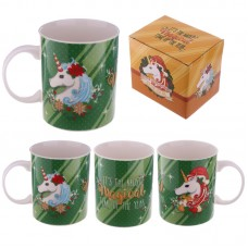 Christmas New Bone China Mug - Christmas Unicorns