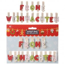 Christmas Letter Pegs - FROHE WEIHNACHTEN