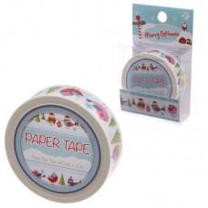 10 Metre Paper Self Adhesive Gift Tape - Christmas Robins