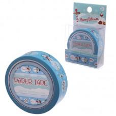 10 Metre Paper Self Adhesive Gift Tape - Christmas Blue Snowman